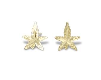 10K Solid Yellow Gold Marijuana Leaf Stud Earrings - Cannabis Weed Pot Ganja