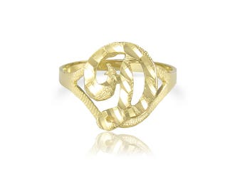 14K Solid Yellow Gold Initial Letter Ring - A-Z Any Alphabet Cursive Band