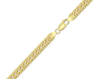 "10K Yellow Gold Hollow Miami Cuban Bracelet 7.5mm 8-9"" - Curb Chain Link"