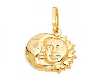 14K Yellow Gold Sun Moon Pendant - Crescent Polished Necklace Charm
