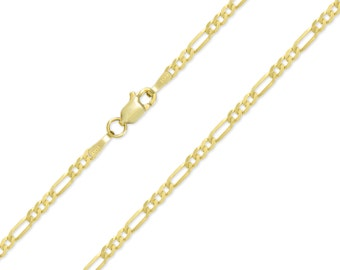 """14K Solid Yellow Gold Classic Figaro Necklace Chain 2.4mm 16-24"""" - Polished Link"""