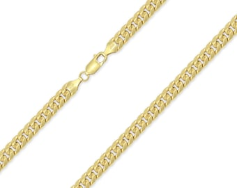 "10K Yellow Gold Hollow Miami Cuban Necklace Chain 5.5mm 20-30"" - Round Curb Link"