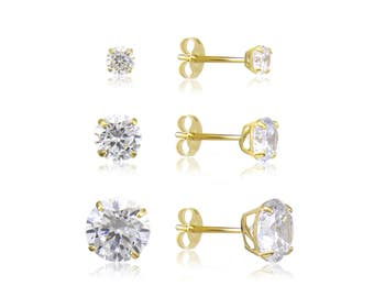 10K Solid Yellow Gold Cubic Zirconia Round Cut Solitaire Stud Earrings Basket 2.0-10.0mm