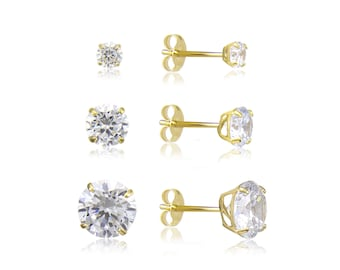 14K Solid Yellow Gold Cubic Zirconia Round Cut Solitaire Stud Earrings Basket 2.0-7.0mm