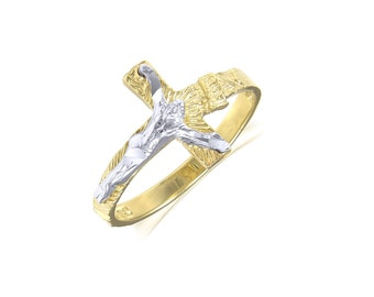 14K Solid Yellow White Gold Sideways Crucifix Cross Ring - INRI Jesus Religious Band