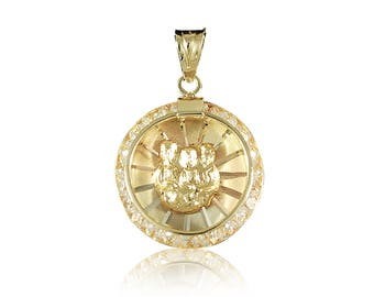 14K Solid Yellow White Rose Gold Cubic Zirconia Baptism Round Medal Pendant - Tricolor Necklace Charm