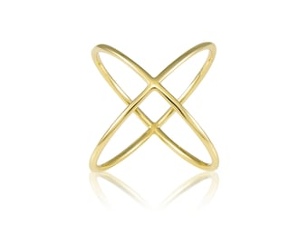10K Solid Yellow Gold Criss Cross Ring Adjustable - Stackable Finger Knuckle Midi Thumb Plain Band