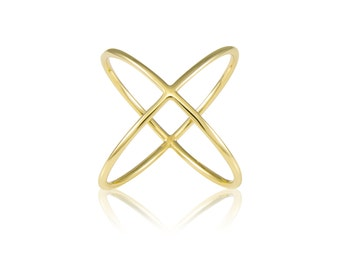 14K Solid Yellow Gold Criss Cross Ring Adjustable - Stackable Finger Knuckle Midi Thumb Plain Band