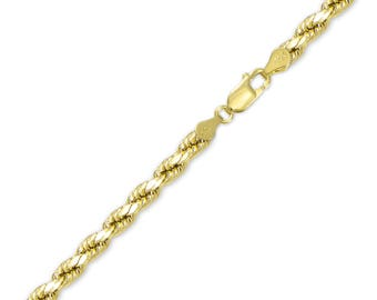 "10K Solid Yellow Gold Diamond Cut Rope Bracelet 5.0mm 8-9"" - Chain Link"