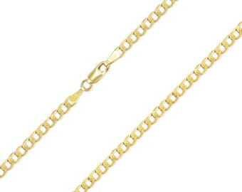 "14K Yellow Gold Hollow Cuban Necklace Chain 3.5mm 16-30"" - Round Curb Link"