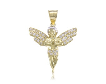 10K Solid Yellow Gold Cubic Zirconia Baby Angel Pendant - Guardian Polished Necklace Charm
