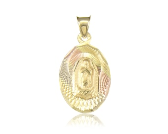 14K Solid Yellow White Rose Gold Virgin Mary Oval Medal Pendant - Tricolor Lady of Guadalupe Necklace Charm