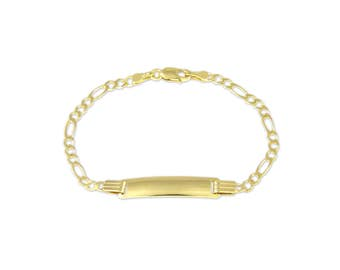 "10K Solid Yellow Gold Figaro ID Bracelet 3.0-5.0mm 5.5-6.5"" - Free Engraving Baby Kids"