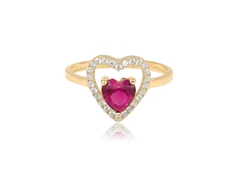 14K Solid Yellow Gold Cubic Zirconia Red Heart Ring - Ruby Love Band
