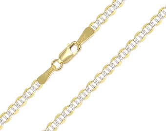 "14K Solid Yellow Gold White Pave Mariner Necklace Chain 3.4mm 16-24"" - Diamond Cut Anchor Link"