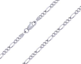 "14K Solid White Gold Figaro Necklace Chain 3.0mm 16-26"" - Polished Link"