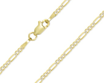 "14K Solid Yellow Gold White Pave Classic Figaro Necklace Chain 2.4mm 16-24"" - Diamond Cut Link"