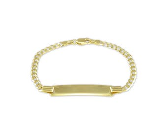 "10K Solid Yellow Gold Cuban ID Bracelet 3.5-4.0mm 5.5-6"" - Free Engraving Baby Kids"