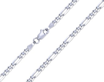 """14K Solid White Gold Classic Figaro Necklace Chain 3.2mm 18-26"""" - Polished Link"""