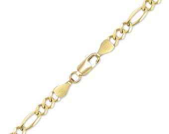 "14K Solid Yellow Gold Figaro Bracelet 9.0mm 8-9"" - Polished Chain Link"