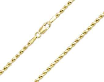 "10K Solid Yellow Gold Diamond Cut Rope Necklace Chain 2.0mm 16-30"" - Link"