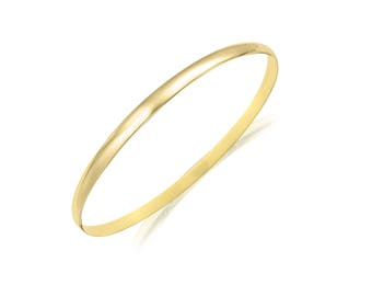 "14K Solid Yellow Gold Bangle Bracelet 3.0mm 7.5"" - Classic Polished Plain"