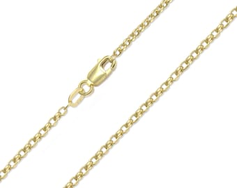 "10K Yellow Gold Hollow Rolo Necklace Chain 2.0mm 18-30"" - Round Cable Link"