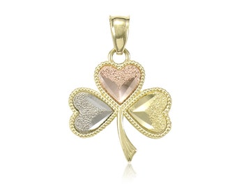 10K Solid Yellow White Rose Gold Shamrock Pendant - Good Luck Irish Leaf Heart Necklace Charm
