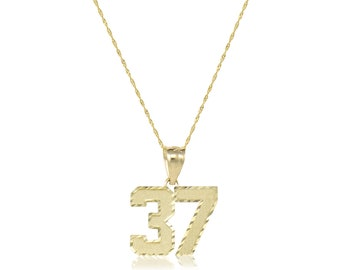 10K Solid Yellow Gold Custom Two Digit Number Pendant Singapore Chain Necklace Set - 00-99 Diamond Cut Charm
