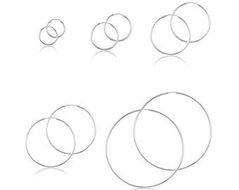 14K White Gold Endless Round Hoop Earrings 1.5mm 15-60mm - Classic Polished Plain Tube