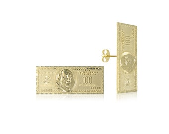 10K Solid Yellow Gold One Hundred Dollar Stud Earrings - 100 Bill Money