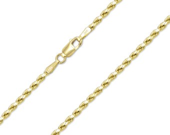 "14K Yellow Gold Hollow Diamond Cut Rope Necklace Chain 2.5mm 16-24"" - Link"