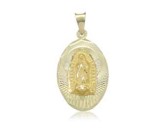 14K Solid Yellow Gold Virgin Mary Oval Medal Pendant - Lady of Guadalupe Necklace Charm