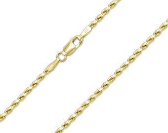 "14K Yellow Gold Hollow Diamond Cut Rope Necklace Chain 2.0mm 16-30"" - Link"