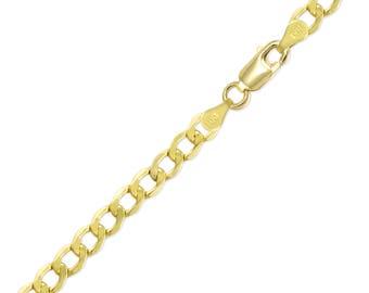 "14K Yellow Gold Hollow Cuban Bracelet 6.5mm 7-9"" - Curb Chain Link"