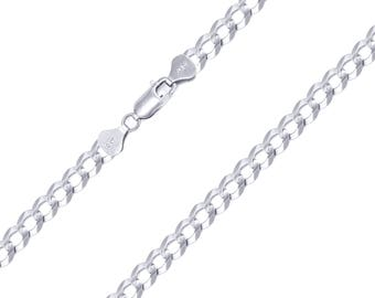 "10K Solid White Gold Cuban Necklace Chain 5.0mm 18-30"" - Round Curb Link"