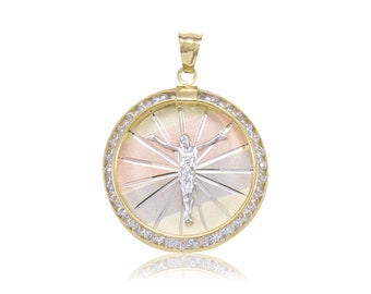 14K Solid Yellow White Rose Gold Cubic Zirconia Jesus Round Medal Pendant - Tricolor Christ Crucifix Necklace Charm