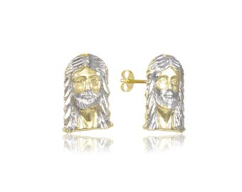 10K Solid Yellow White Gold Jesus Head Stud Earrings - Christ Crucifix Cross