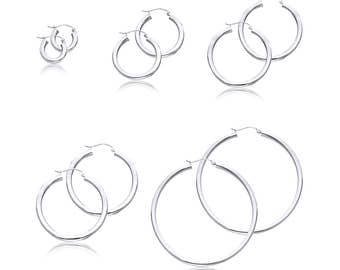 14K White Gold Round Hoop Earrings 3.0mm 15-55mm - Classic Polished Plain Tube