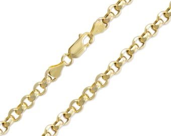 """10K Yellow Gold Hollow Rolo Necklace Chain 5.0mm 20-32"""" - Round Cable Link"""