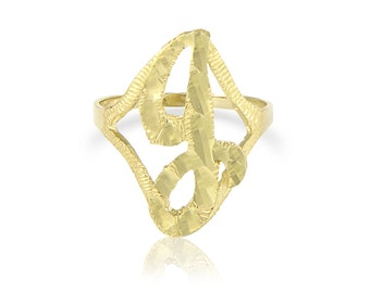 10K Solid Yellow Gold Initial Letter Ring A-Z Any Alphabet