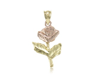 14K Solid Yellow Rose Gold Rose Pendant - Flower Diamond Cut Necklace Charm