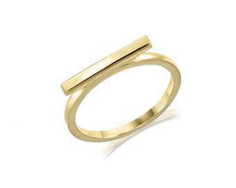 14K Solid Yellow Gold Bar Ring - Plain Polished Stackable Finger Band