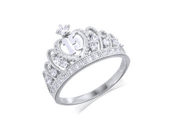14K Solid White Gold Cubic Zirconia Crown Sweet 15 Ring - Quinceanera Anos Birthday Band