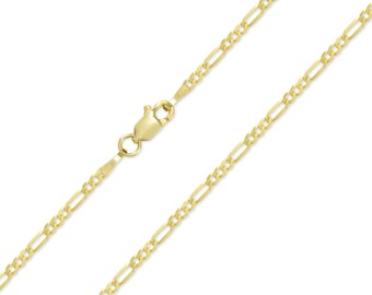 "14K Solid Yellow Gold Classic Figaro Necklace Chain 2.0mm 16-24"" - Polished Link"