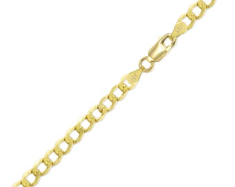 "10K Yellow Gold Hollow Cuban Bracelet 5.5mm 7-9"" - Curb Chain Link"