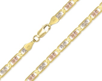 """10K Solid Yellow White Rose Gold Valentino Necklace Chain 6.3mm 18-24"""" - Tri Color Link"""
