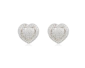 10K Solid White Gold Cubic Zirconia Heart Stud Earrings - Love