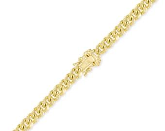 "14K Yellow Gold Hollow Miami Cuban Bracelet 9.5mm 8-9"" - Curb Chain Link"
