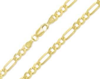 """14K Yellow Gold Hollow Figaro Necklace Chain 7.5mm 20-30"""" - Polished Link"""